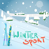 Winter card background. Mountains, snowboard and ski equipment Stock Photos