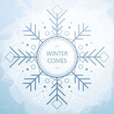 Winter Card With Beautiful Geometric Snowflake. Grunge Style Background. Royalty Free Stock Photos