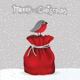 Winter card with bird and gift bag Royalty Free Stock Photo