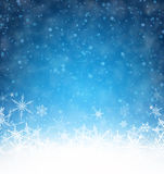Winter card. Blue winter card with snowflakes. Vector paper illustration Stock Image