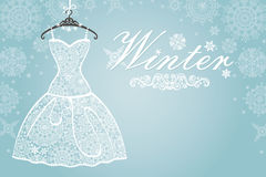Winter card.Bridal dress with snowflake lace .Vertical. Bridal shower dress,Winter invitation card.Openwork wedding dress.Snowflakes lace fabric.Christmas,New Royalty Free Stock Photography