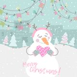 Winter card with cartoon cute snowman. With a multi-colored garland and pink heart in pastel colors. Funny snowman in childish style. Perfect for winter royalty free illustration