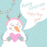 Winter card with cartoon cute snowman. With a multi-colored garland in pastel colors. Funny snowman in childish style. Perfect for winter invitations, New Year vector illustration