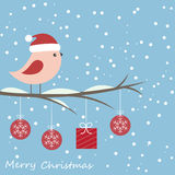 Winter card with cute bird Stock Photography