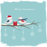 Winter card with cute birds Royalty Free Stock Photography