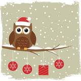 Winter card with cute owl Stock Image