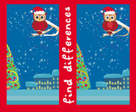 Winter card with cute owl , find the differences. Illustration Royalty Free Stock Photography