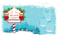 Winter card with cute owls Royalty Free Stock Photos