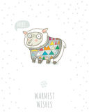 Winter card with cute sheep in knitted sweater Stock Images