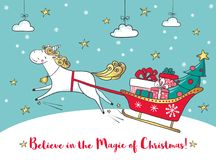Winter card with cute unicorn and gifts. Royalty Free Stock Photos