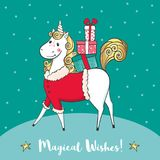 Winter card with cute unicorn-santa and gifts. Royalty Free Stock Photos