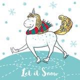 Winter card with cute unicorn on skates. Stock Photos