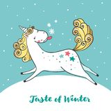 Winter card with cute unicorn and snowflakes. Stock Photography