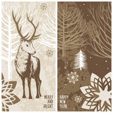Winter card, deer Royalty Free Stock Image