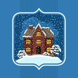 Winter card design with house and trees Royalty Free Stock Photos