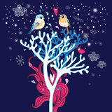 Winter card with enamored birds in the trees Royalty Free Stock Photography