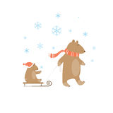 Winter. Winter card with  family of bears. A bear father and  bear cub on sledge Stock Photography