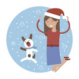 Winter Card. Happy Girl with her Pet Dog Jumping for Joy. stock illustration