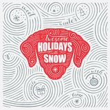 Winter Card. The Lettering - Awesome Holidays With Snow. New Year Of The Dog / Christmas Design. Royalty Free Stock Photo