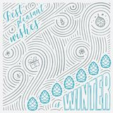 Winter card. The Lettering - Best pleasant wishes is winter. New Year / Christmas design. Handwritten swirl pattern. Stock Photos