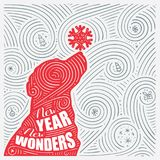 Winter Card. The Lettering - New Year New Wonders. New Year Of The Dog / Christmas Design. Stock Photography