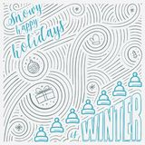 Winter card. The Lettering - Snowy happy holidays is winter. New Year / Christmas design. Handwritten swirl pattern. Stock Image
