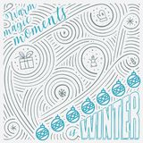 Winter card. The Lettering - Warm magic moments is winter. New Year / Christmas design. Stock Image