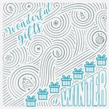 Winter card. The Lettering - Wonderful gifts is winter. New Year / Christmas design. Handwritten swirl pattern. Stock Image