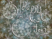Winter card with New Year's greetings. Stock Image