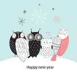 Winter card with owls Royalty Free Stock Photography