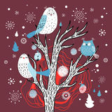 Winter card with owls on the tree. Bright graphics card with owls on a tree on a dark burgundy background with snowflakes stock illustration