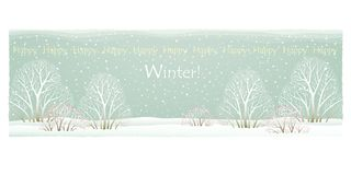 Winter card with a picture of winter trees and bushes with red berries on a background of falling snowflakes. The inscription on t. Winter card with a picture of vector illustration