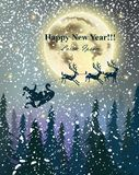 Winter card Reindeers flying over full moon. Snowy night. Happy Holidays background Vector Royalty Free Stock Photography