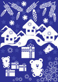 Winter card with small houses and gift box Royalty Free Stock Photos
