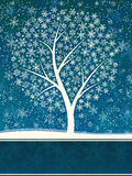 Winter card of snowfall with snow tree. Stock Photo