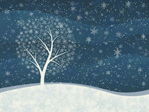 Winter card of snowfall with snowy tree. Royalty Free Stock Image