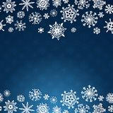 Winter card with snowflakes on blue background. Winter card with snowflakes on dark blue background Royalty Free Stock Photography