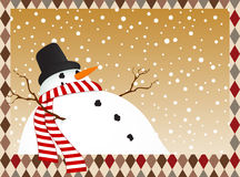 Winter card with a snowman Stock Photos