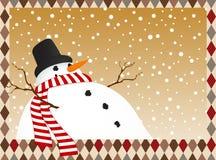 Winter card with a snowman Stock Photos