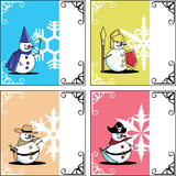 Winter card snowman fantasy Royalty Free Stock Photography