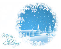 Winter card with snowy landscape. And white snowflakes Stock Image