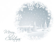 Winter card with snowy landscape. And white snowflakes Royalty Free Stock Photos