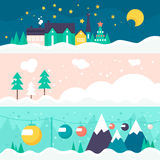 Winter Card Template. Winter vector card templates with town, trees and ski trail. Xmas celebration, christmas invitation, new year card design