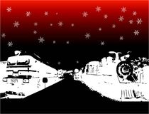 Winter card with trains. Abstract dark background with white train shapes and snowflakes Stock Photos