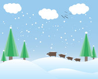 Winter card with trees and wild boars Royalty Free Stock Photo