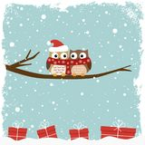 Winter card with two owls Royalty Free Stock Photos
