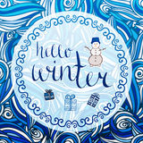 Winter card. Vector calligraphic word with blue Royalty Free Stock Photos