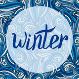 Winter card. Vector calligraphic word with blue pattern. Royalty Free Stock Photography