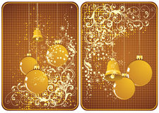 Winter cards. Winter theme cards with bells and ornaments for your message Stock Photography
