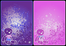 Winter cards with teddy bears. Winter theme cards with colorful bears and snow Stock Photo